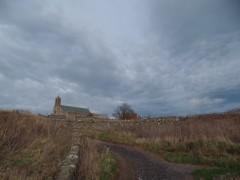 Holy Island of Lindisfarne. In the background St Mary's Church and the Priory (click to enlarge)